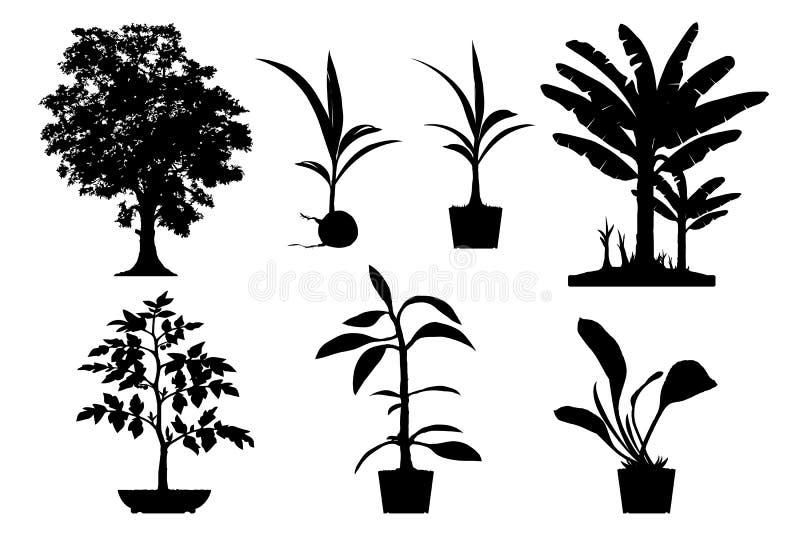 träd- och grönsakkontur royaltyfri illustrationer