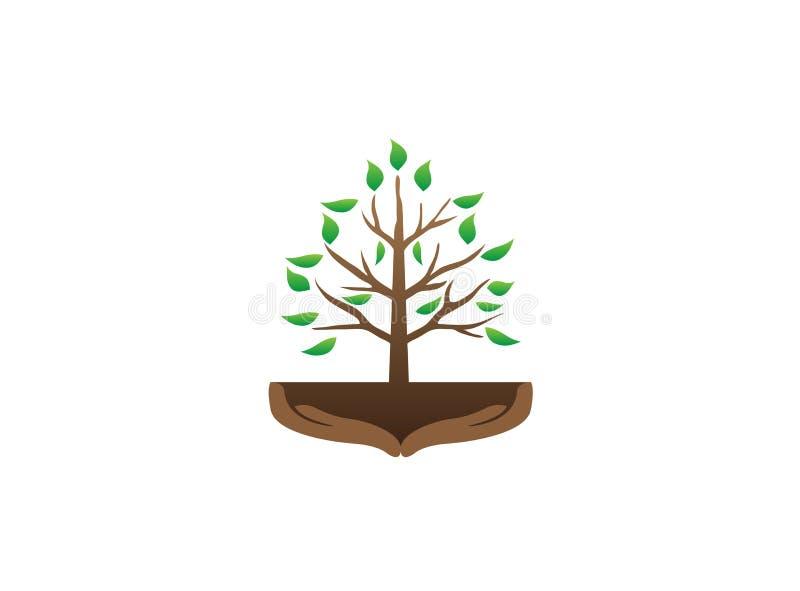 Träd och händer med filialer och sidor i jorden för vektor för logodesignillustration royaltyfri illustrationer
