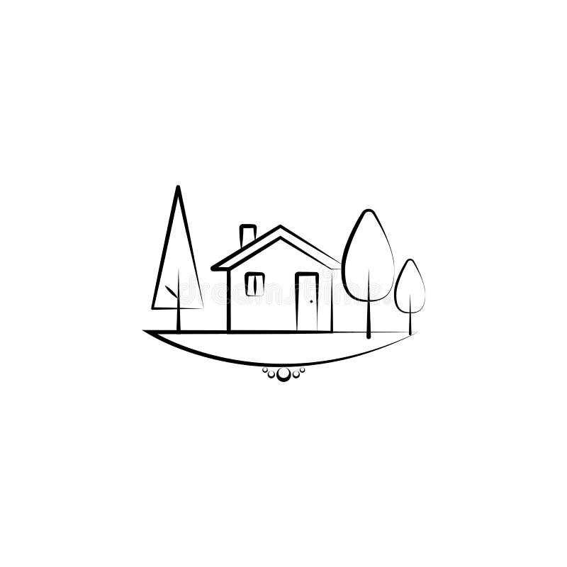 träd och hem- symbol Beståndsdel av landskapsymbolen för mobila begrepps- och rengöringsdukapps Handen drog trädet och den hem- s stock illustrationer