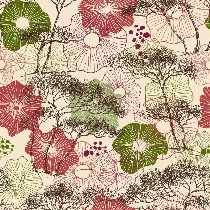 Träd och sömlös modell för blommor royaltyfri illustrationer