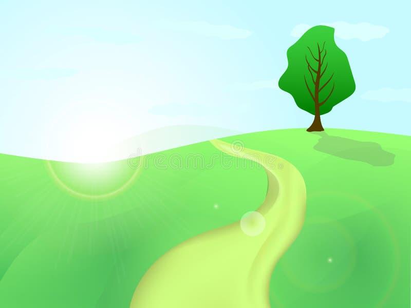 Träd på en kulle med en väg som leder till den och inställningssolen royaltyfri illustrationer