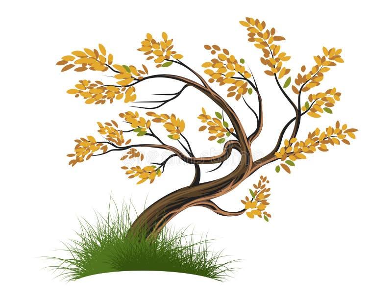 Träd på en vit vektor royaltyfri illustrationer
