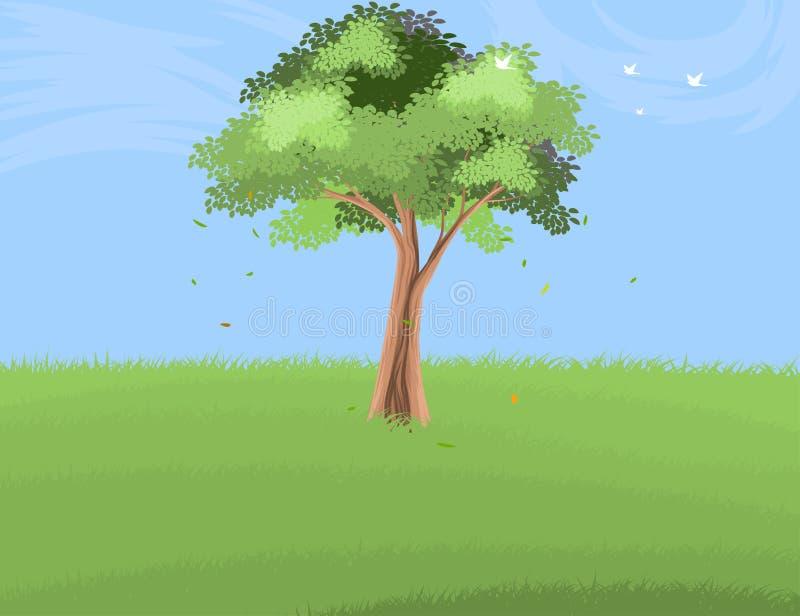 Träd på gräslandskaplandskap royaltyfri illustrationer