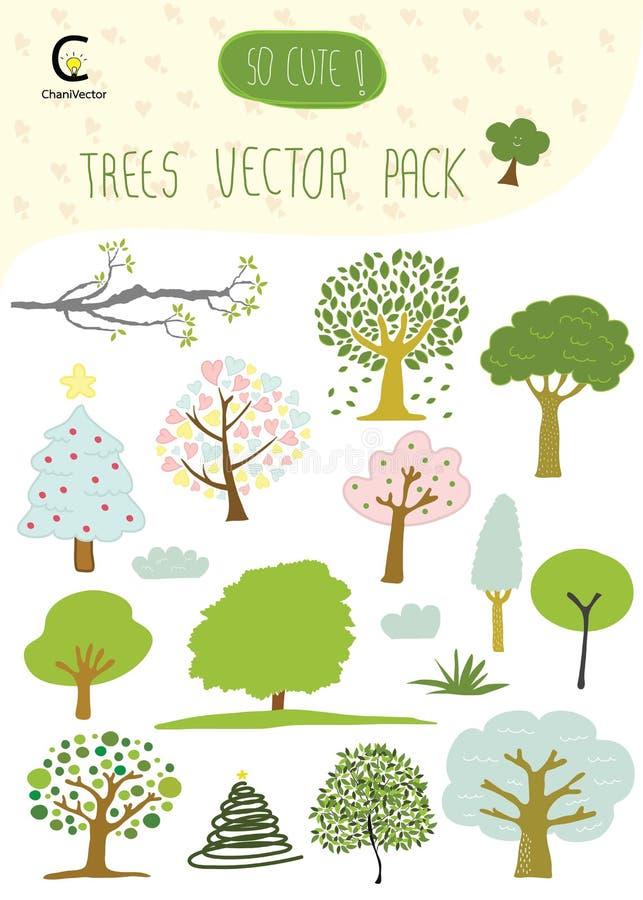 Träd räcker den utdragna romantiska symbolsuppsättningvektorn royaltyfri illustrationer