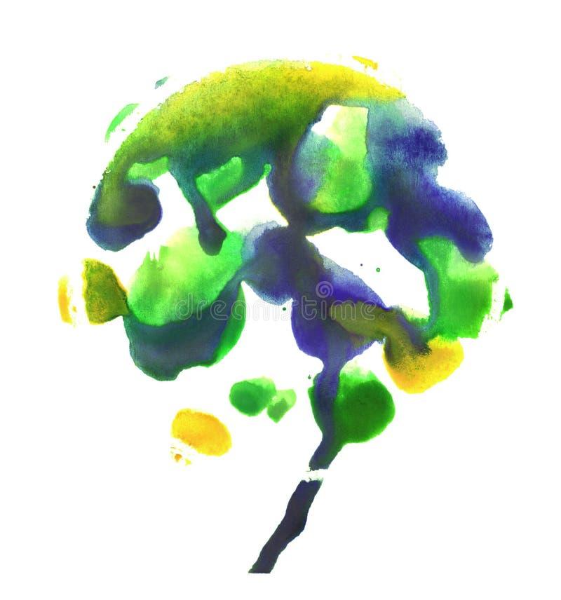 Träd rorschach Guling-, blått- och gräsplanvattenfärgmålning Abstraktionmålarfärgfläckar på vit bakgrund royaltyfri illustrationer