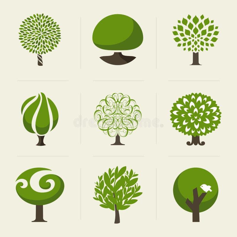 Träd. Samling av designbeståndsdelar vektor illustrationer