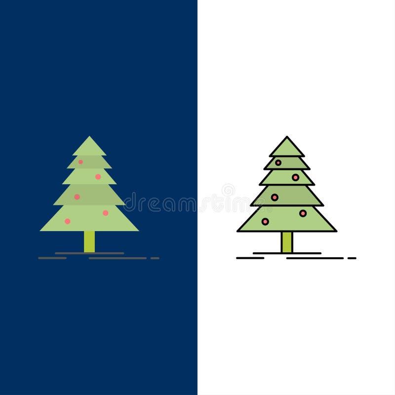 Träd skog, jul, XMas-symboler Lägenheten och linjen fylld symbol ställde in blå bakgrund för vektorn royaltyfri illustrationer