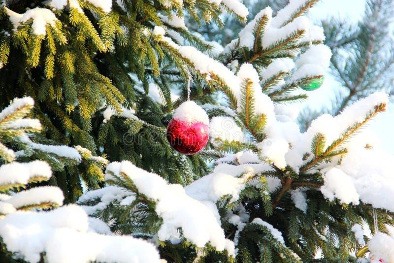 Träd snö, julleksaker arkivbild