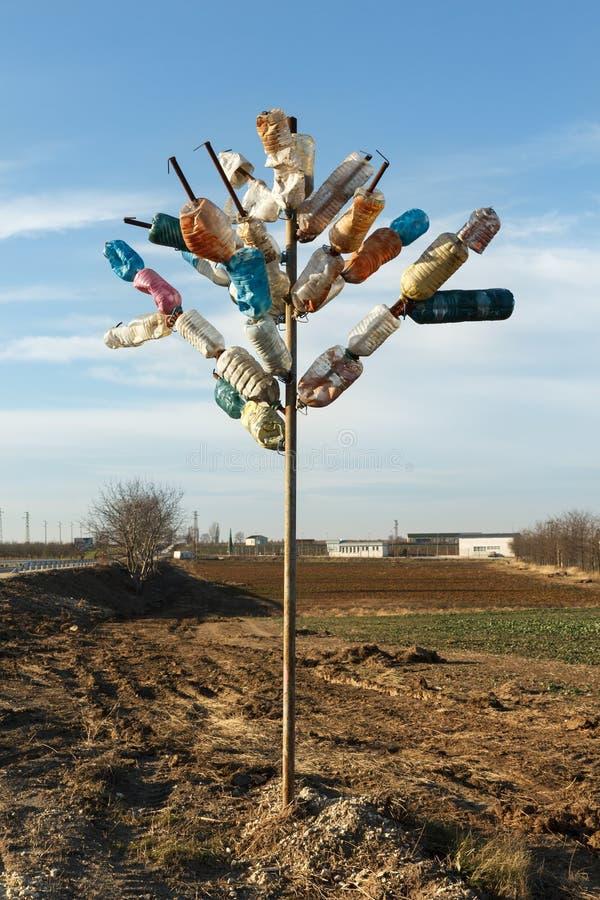 Träd som göras av mångfärgade plast- flaskor Återanvändning och förlorat förminskningsbegrepp fotografering för bildbyråer