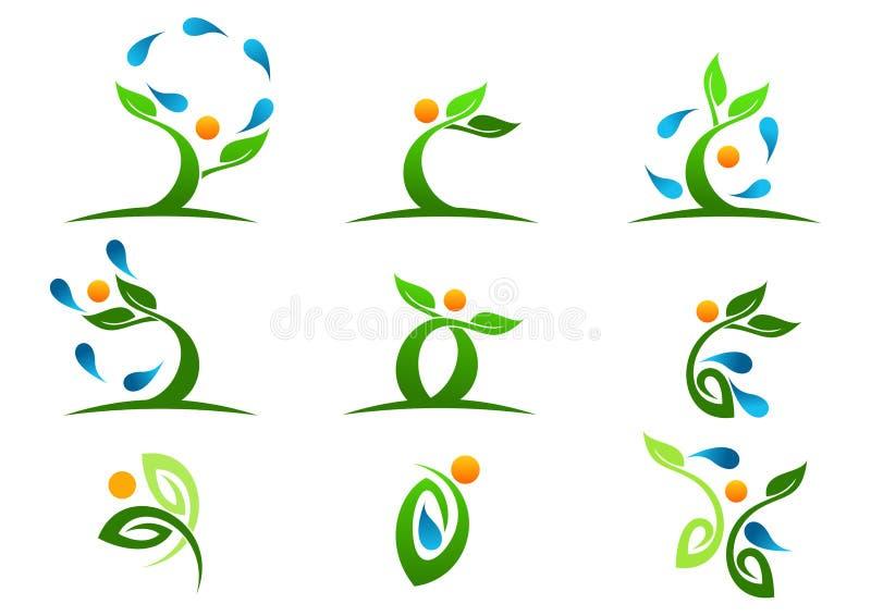 Träd växt, folk, vatten som är naturligt, logo, hälsa, sol, blad, ekologi, uppsättning för vektor för symbolsymbolsdesign royaltyfri illustrationer
