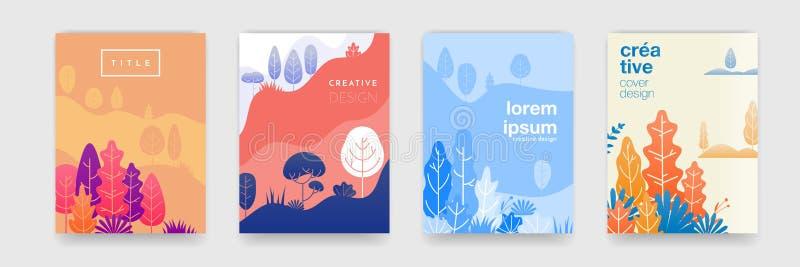 Trädbladsmönsterbakgrund med abstrakta skogsfärger för täckningsmallar kreativ design Vektorsommar, höst, vår vektor illustrationer