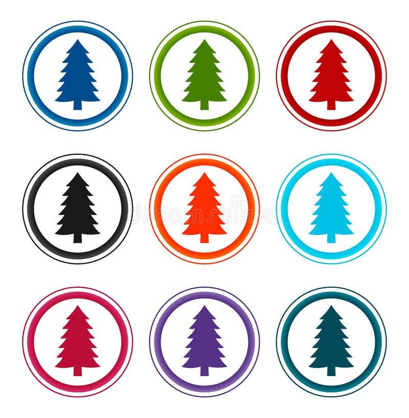 Trädesikonen för Evergreen Conifer pine med platta runda knappar anger illustrationsdesign vektor illustrationer