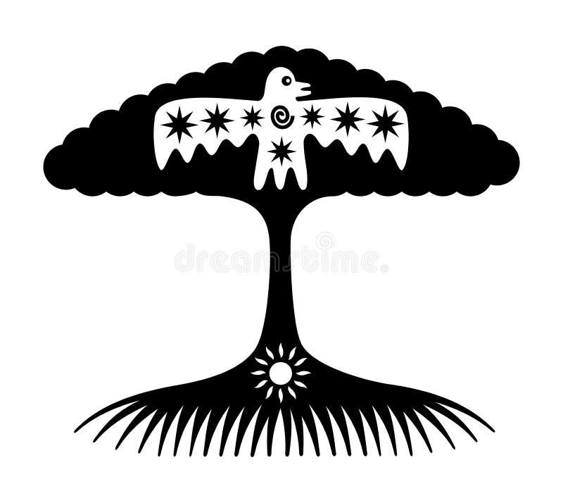 Trädet av liv Symboliskt träd med solen och fågeln stock illustrationer