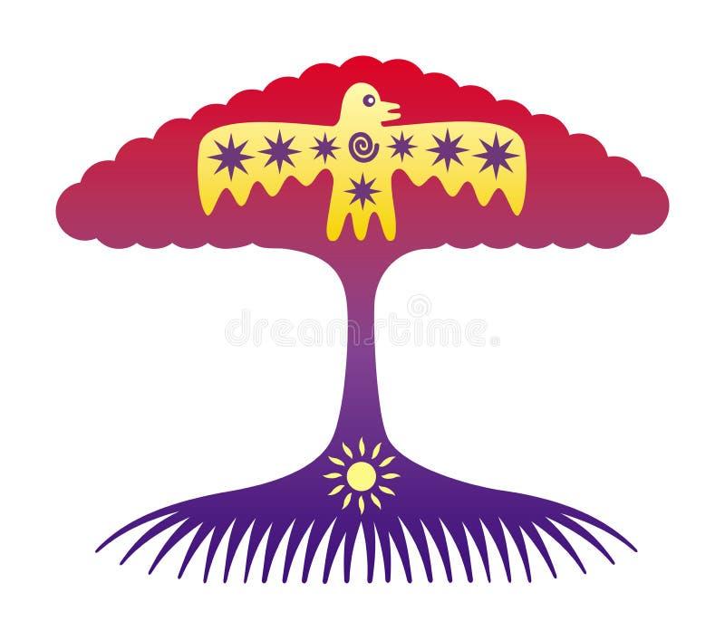 Trädet av liv Symboliskt träd med solen och fågeln royaltyfri illustrationer