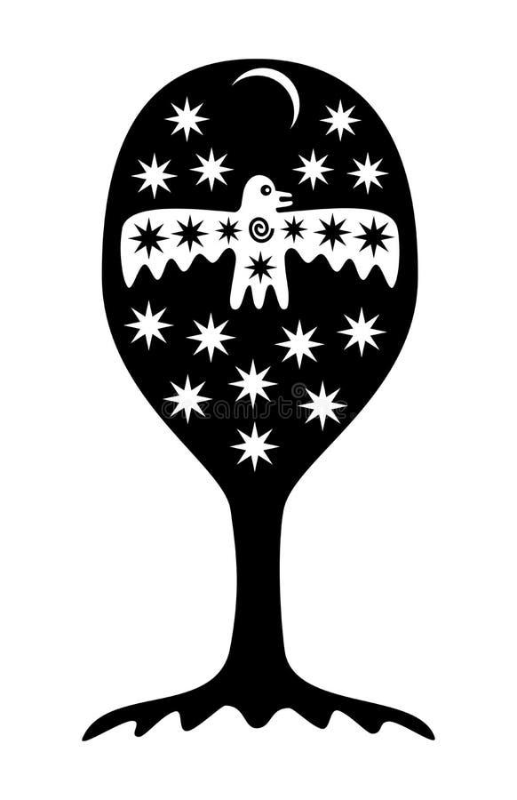 Trädet av liv Symboliskt träd med stjärnor, månen och fågeln Mystisk fantasimodell royaltyfri illustrationer