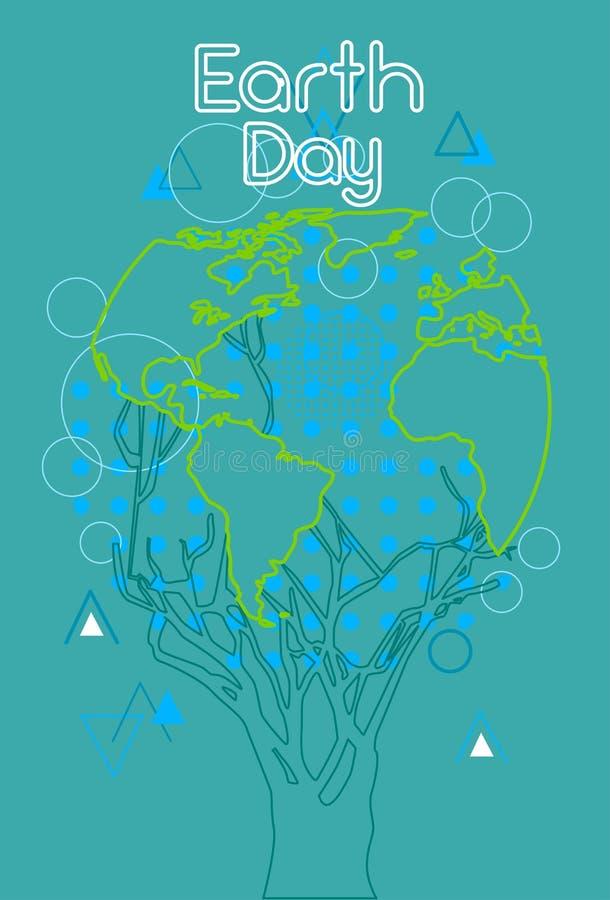 Trädet för gräsplan för jorddagen med jordklotvärlden skissar vektor illustrationer