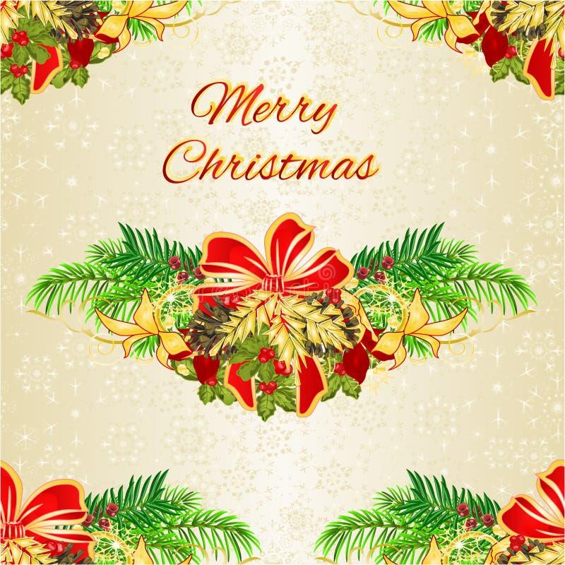 Trädet för jul för sömlös texturjul och för det nya året bugar sörjer det dekorativa festlig julstjärnaidegransträ och och kottar stock illustrationer