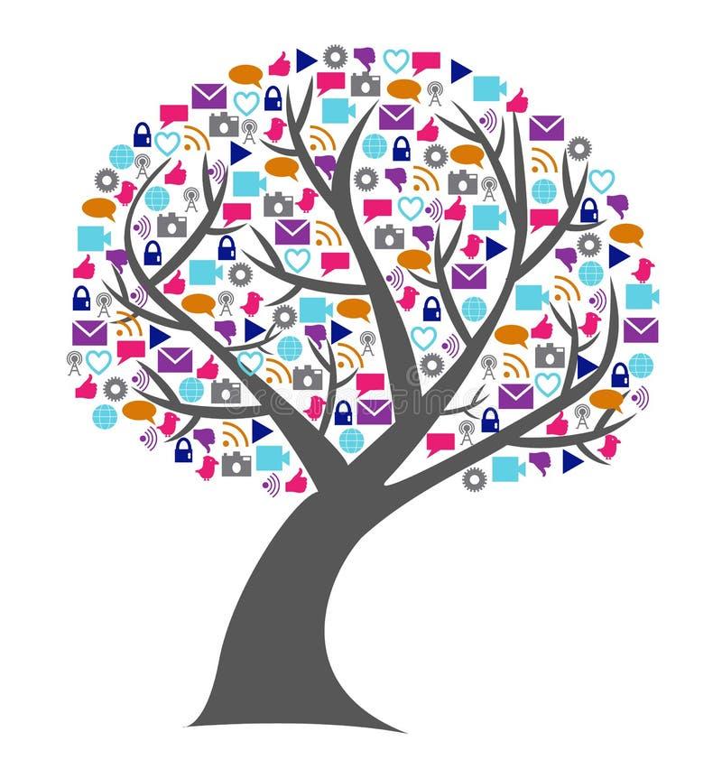 Trädet för social teknologi och massmediafyllde med nätverkandesymboler royaltyfri foto