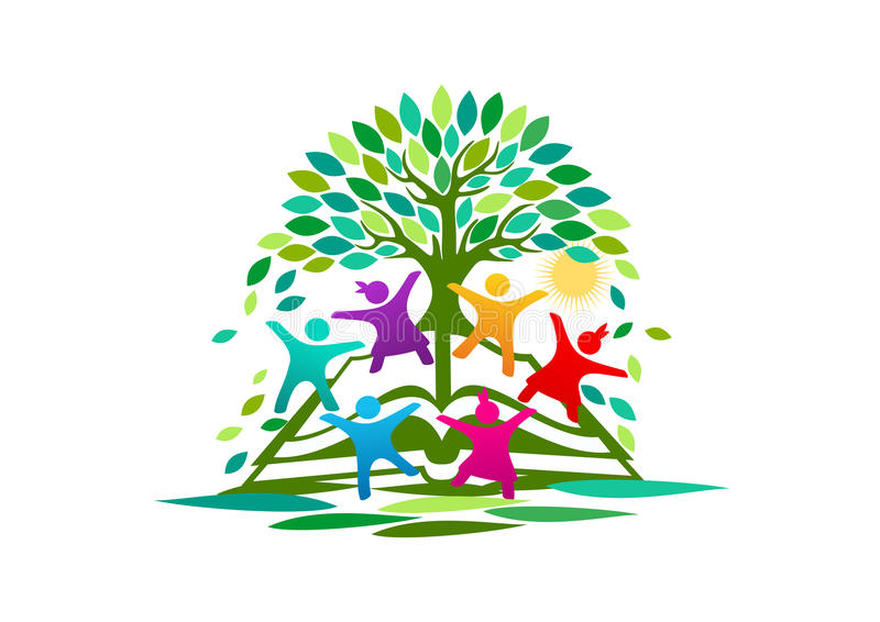 Trädet kunskap, logo, öppnar boken, barn, symbolet, ljus design för utbildningsvektorbegrepp royaltyfri illustrationer