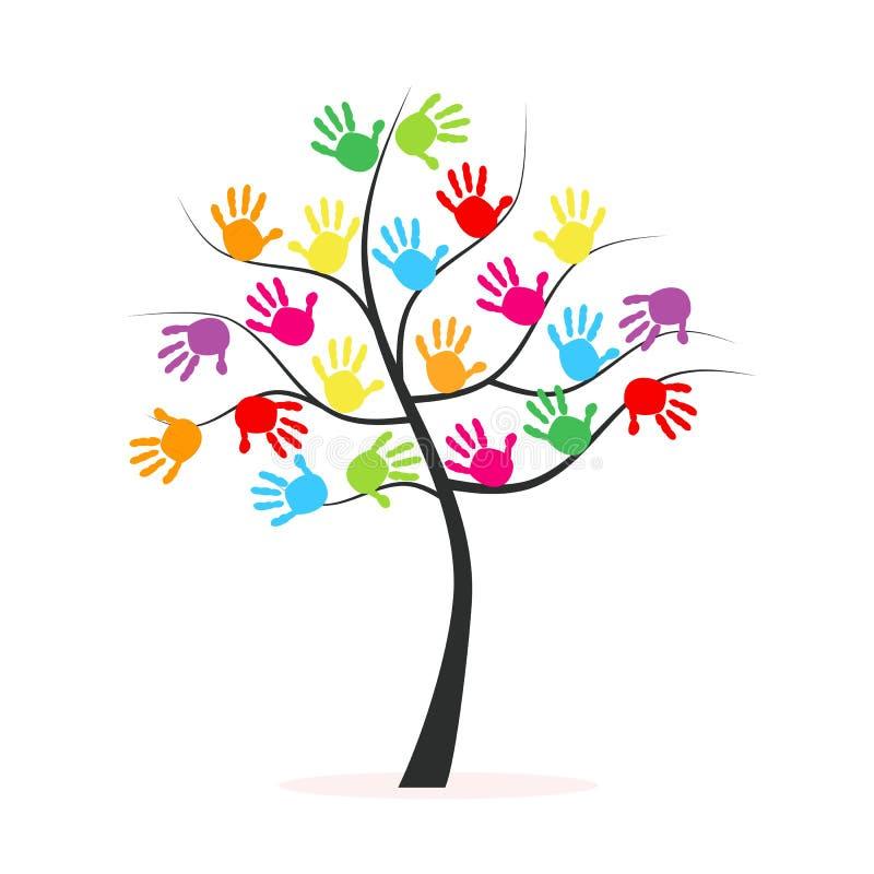 Trädet med den färgrika handen skrivar ut vektorbakgrund vektor illustrationer