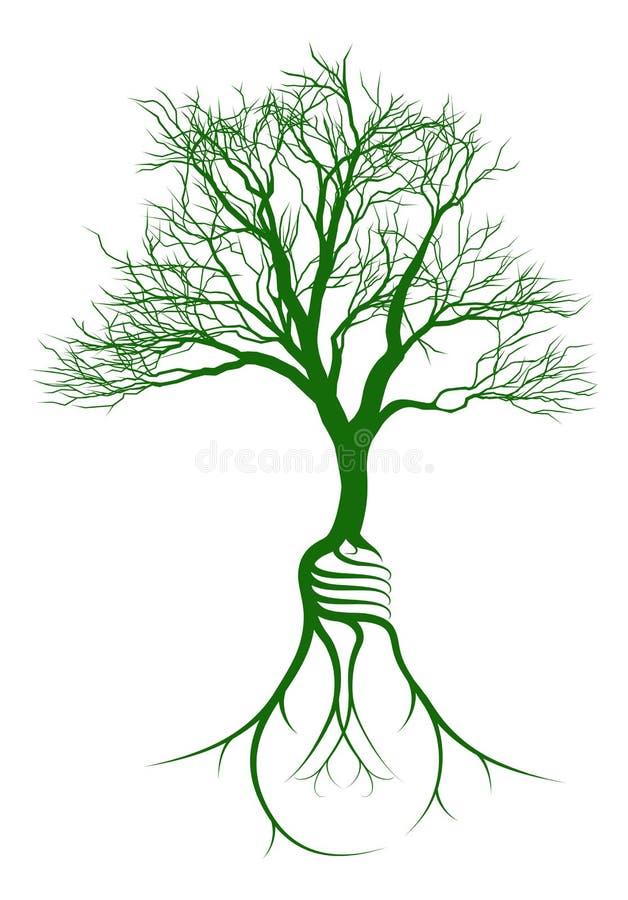 Trädet med den ljusa kulan rotar royaltyfri illustrationer