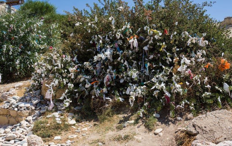 Trädet med kulöra önskaband och stenar nära älskar stranden Aphrodite` s vaggar - födelseorten för Aphrodite` s nära den Paphos s arkivfoto