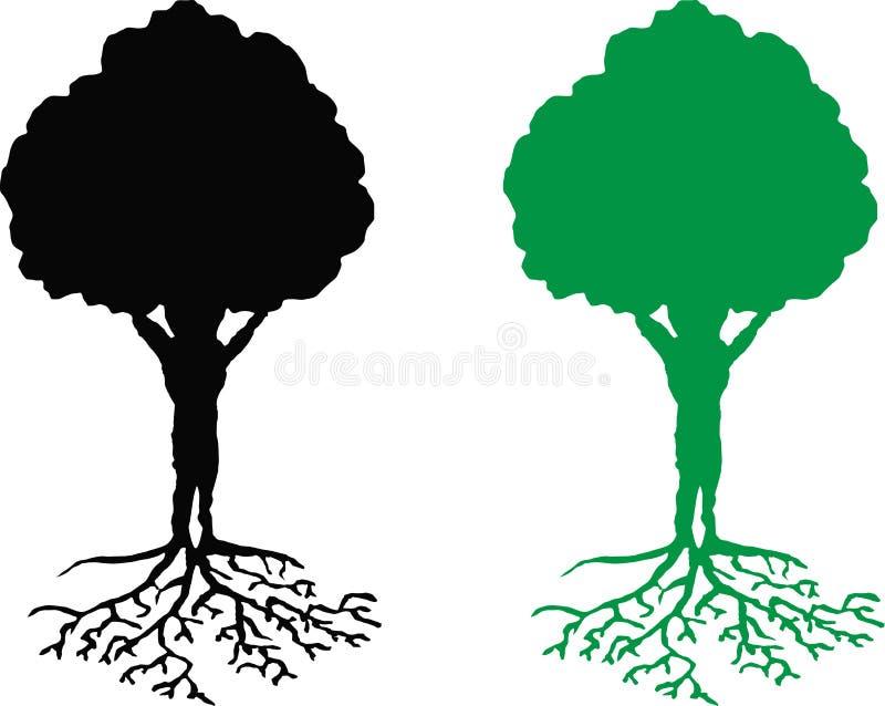 Trädet med rotar stock illustrationer