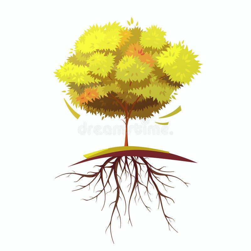 Trädet med rotar den Retro tecknad filmillustrationen stock illustrationer