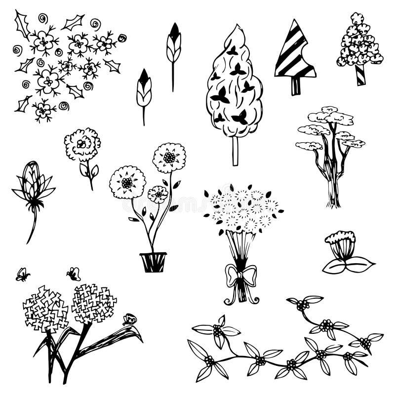 Trädet och blomman skissar översiktsvektoruppsättningen på vit bakgrund vektor illustrationer