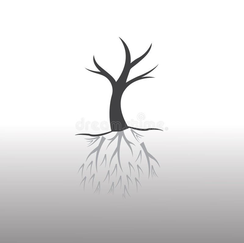 Trädet och rotar stock illustrationer