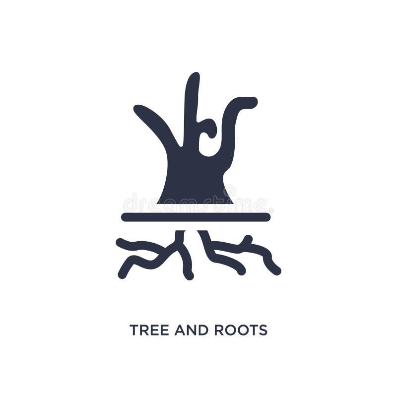 trädet och rotar symbolen på vit bakgrund Enkel beståndsdelillustration från ekologibegrepp vektor illustrationer