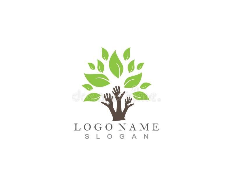 Trädet räcker logo royaltyfri illustrationer