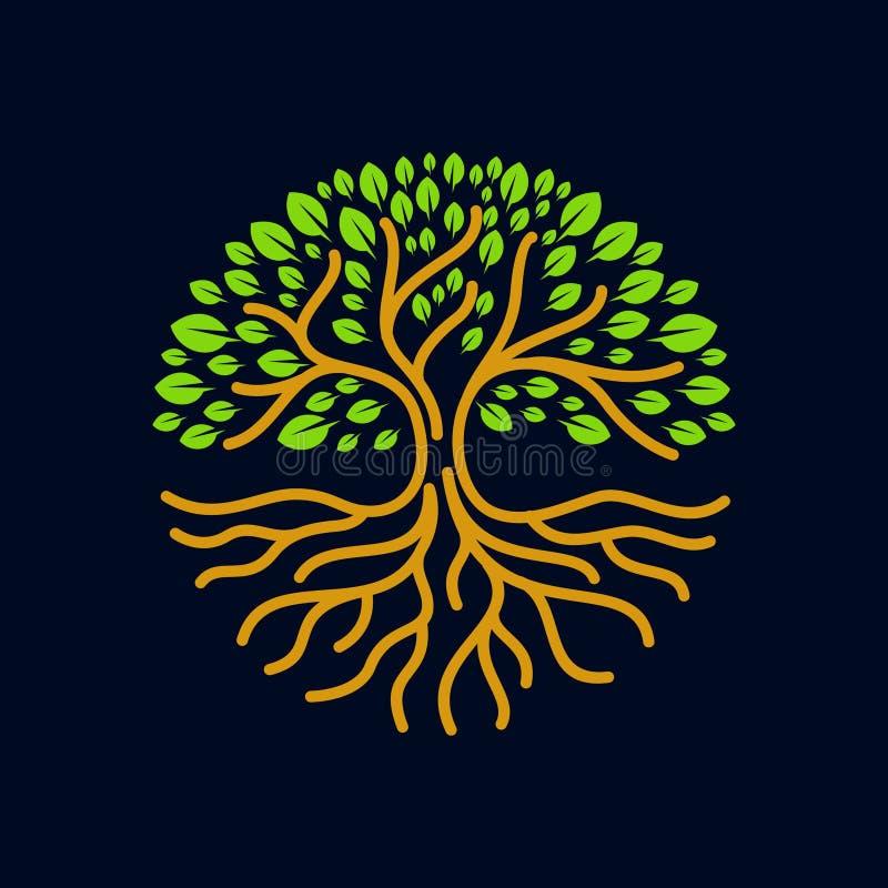 Trädet rotar illustrationen för vektorn för cirkellogoemblemet den moderna royaltyfri illustrationer