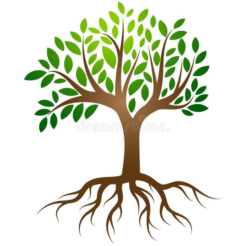 Trädet rotar logovektorn royaltyfri illustrationer