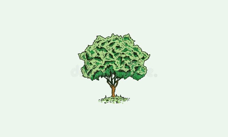 Trädet skissar logosymbolsvektorn royaltyfri illustrationer