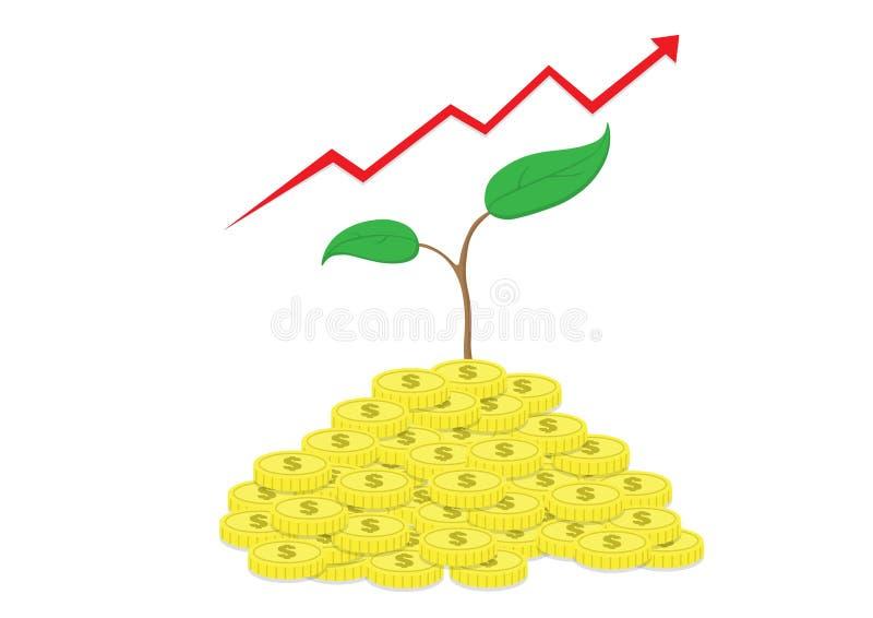 Trädet växer på pengar och pil royaltyfri foto