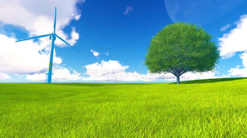 Trädfältet av gräs och perfekt himmel landskap tolkningen 3D royaltyfri illustrationer