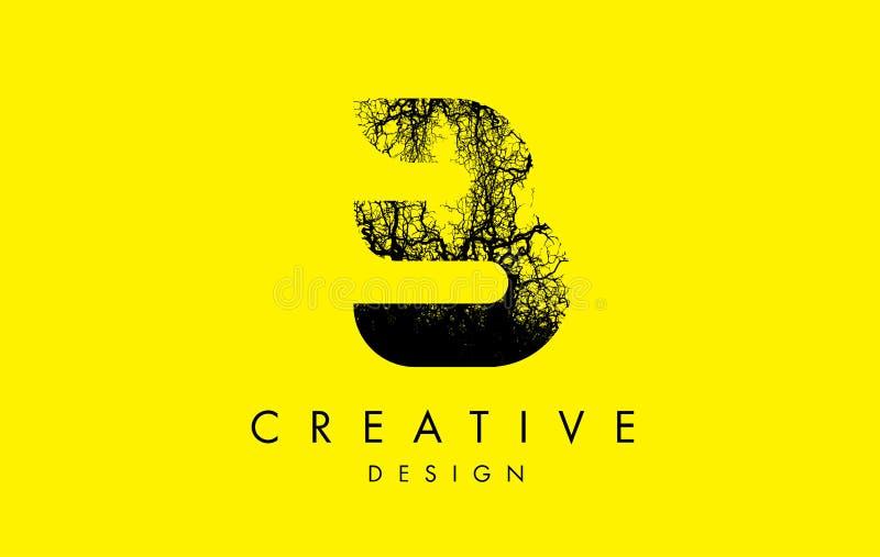Trädfilialer för B Logo Letter Made From Black vektor illustrationer