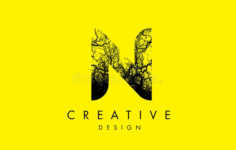 Trädfilialer för N Logo Letter Made From Black royaltyfri illustrationer