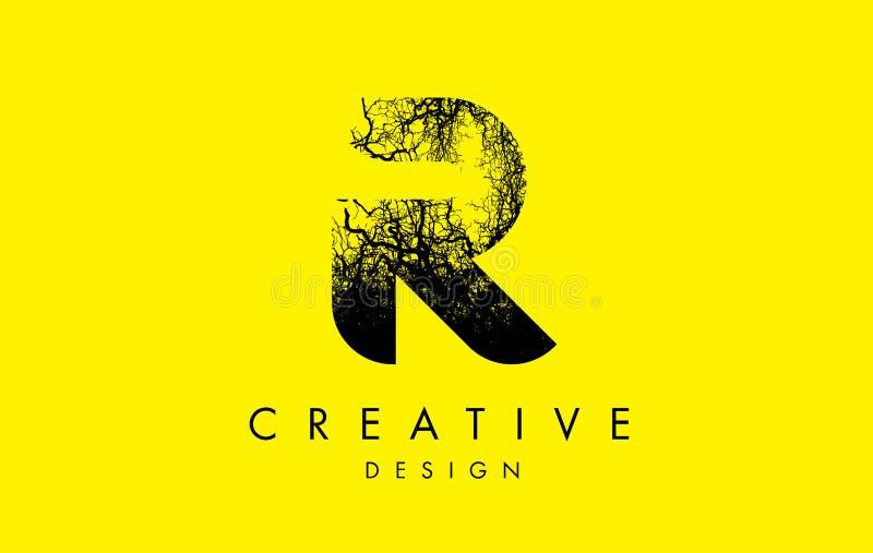 Trädfilialer för R Logo Letter Made From Black vektor illustrationer