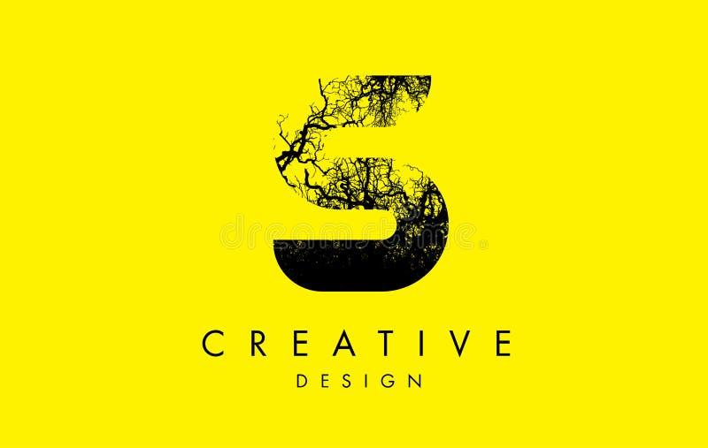 Trädfilialer för S Logo Letter Made From Black royaltyfri illustrationer