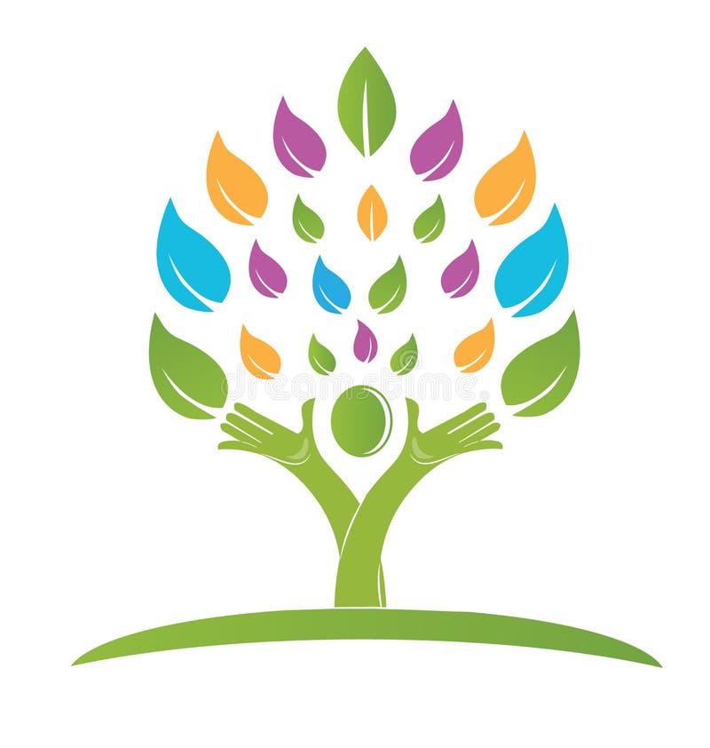 Trädfolket räcker färgrik logo stock illustrationer