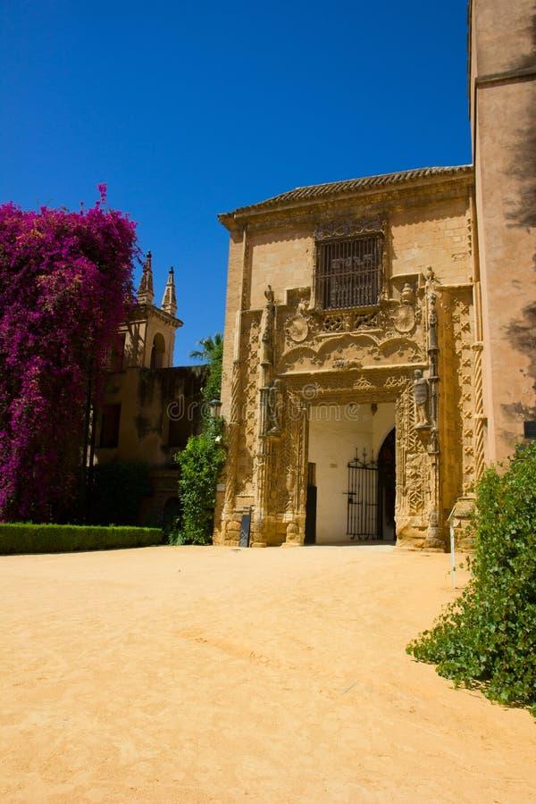 Trädgård av poetsna, Alcazarslott, Seville arkivfoto
