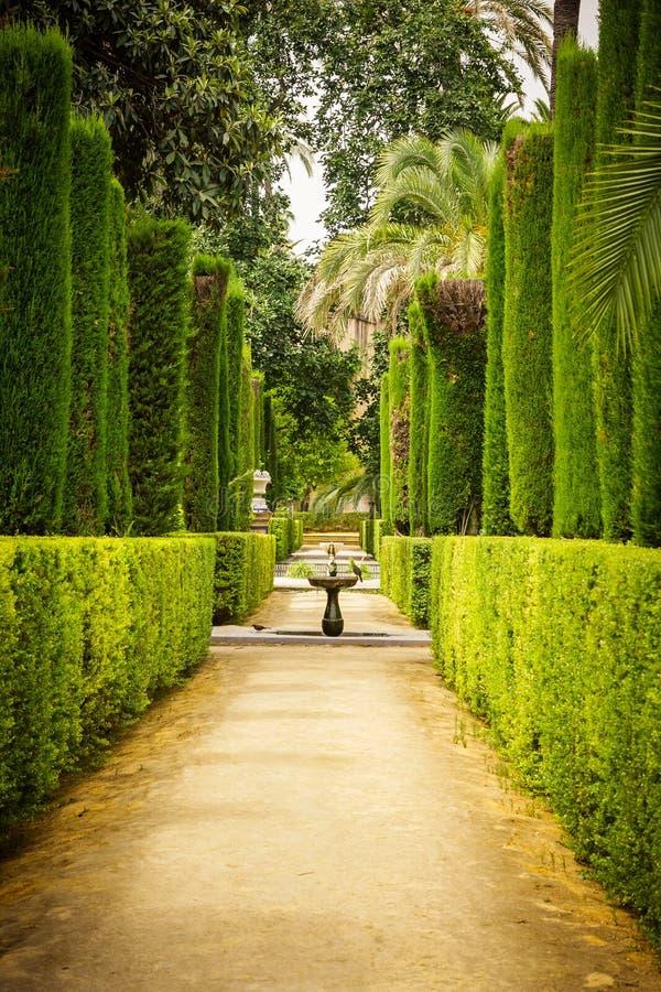 Trädgård av poetsna i alcazaren, Sevilla royaltyfria foton