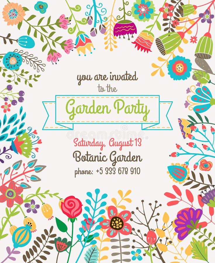Trädgård eller affisch för mall för sommarpartiinbjudan vektor illustrationer