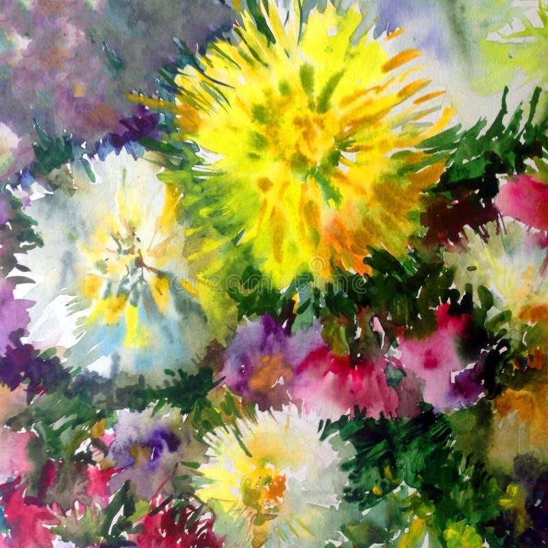 Trädgård för dahlia för blomning för blommor för färgrik för natur för vattenfärgkonstbakgrund för sommar guling för vit rosa här royaltyfri illustrationer