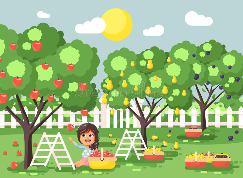 Trädgård för fruktträdgård för höst för frukt för skörd för liten flicka för brunett för barn för tecken för vektorillustrationte stock illustrationer