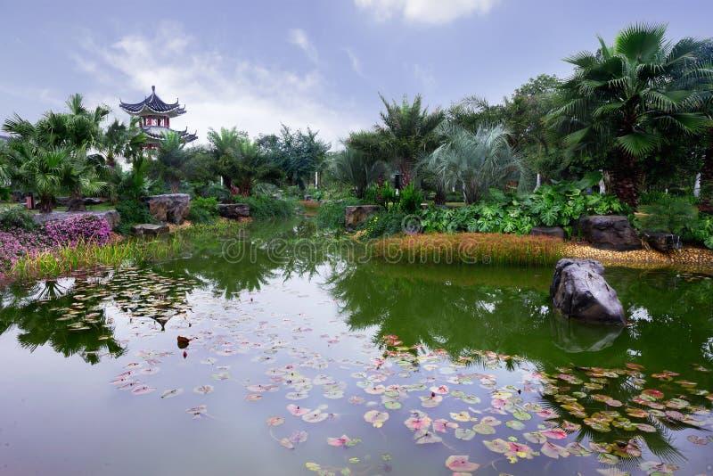 Trädgård för traditionell kines med dammet arkivfoton