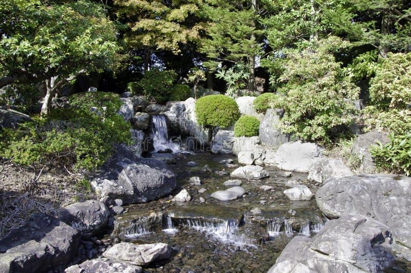 Trädgård med damm i asiatisk stil royaltyfri bild