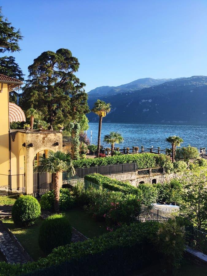 Trädgård med sjö- och bergsikt royaltyfri fotografi